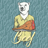 Vector white bear with meat ham illustration