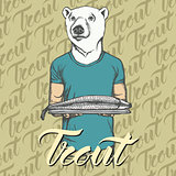 Vector white bear with fresh fish illustration