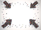 Arrows made of people. Concept of people advertisement. 3D Rendering
