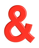 Red ampersand character. 3D illustration