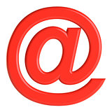 Red email sign. 3D illustration