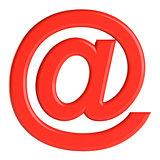 Red email sign. 3D illustration