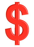 Red dollar sign. 3D illustration