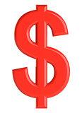 Red dollar sign. 3D illustration