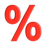 Red percent sign. 3D illustration