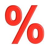 Red percent sign. 3D illustration