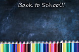 Back to School Chalkboard Texture Background with Colored Pencil