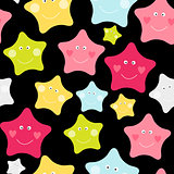 Cute Children's Seamless Pattern Background with Stars Vector Illustration