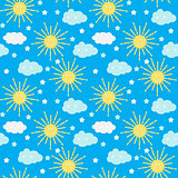 Children's Seamless Pattern Background with Sun, Cloud and Stars Vector Illustration