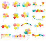 Group of Colour Glossy Helium Balloons Isolated on Transperent  Background. Set of  Balloons and Flags for Birthday, Anniversary, Celebration  Party Decorations. Vector Illustration