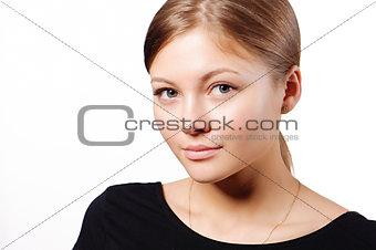 Beautiful woman face close up studio on white