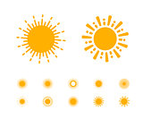 Sun vector collection on white background