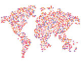 Isolated pink color worldmap of dots on white background, earth vector illustration