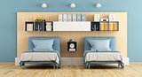 Blue and wooden teenage bedroom