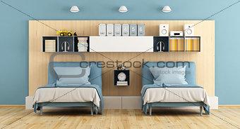 Blue and wooden teenage bedroom