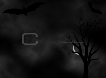 A scary dark Night background illustration for halloween