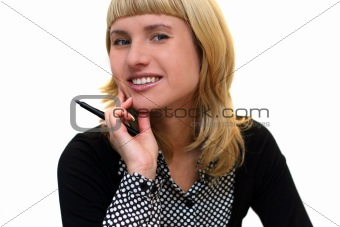 young woman with pen is smiling in office