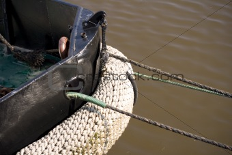 Fishing Boat keel with moorning rope