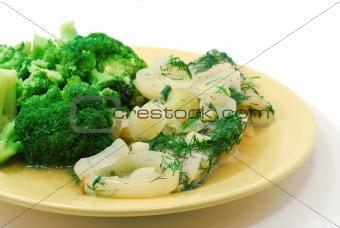 Broccoli and fish dish