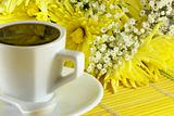morning cup of coffee with flowers