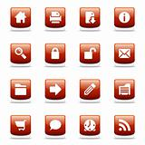 Set of glossy red web icons