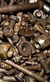 Old screws, nuts and bolts.