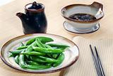 Sugar snap peas with dipping sauce