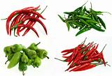 red hot, green and red bird eye, bullet chilli peppers