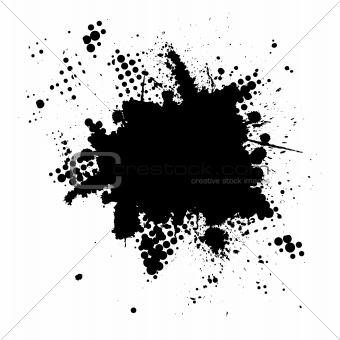 Halftone ink splat grunge