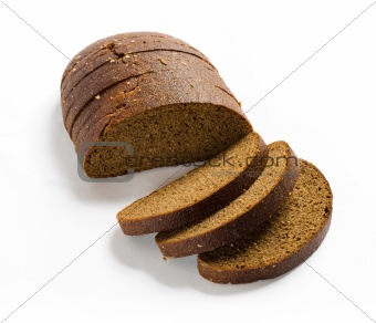 Sliced brown rye bread