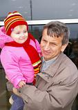 Grandfather and  small grand daughter