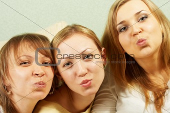 Air kiss from three attractive girls