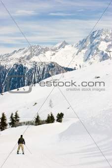 Skier at the track