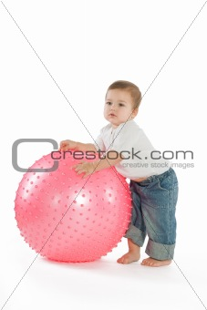 Boy with a fitness ball