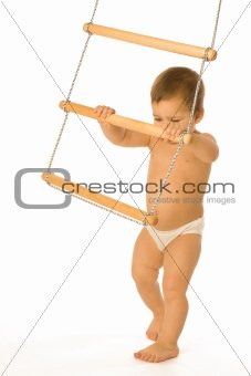 Boy with a rope-ladder