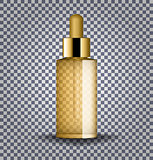 Realistic gold cosmetic glass bottle with dropper. Cosmetic vials for oil, collagen serum, liquid essential. Mock up vector illustration isolated on transparent background.