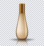 Transparent gold perfume cosmetic bottle. Realistic vector illustration of cosmetic product