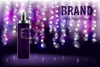 Cosmetic moisturizing brand product. Shiny violet night repair serum bottle on a dark background with soft bokeh. Vector 3D translucent bottle illustration.