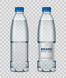 Plastic bottle with mineral water with blue cap on transparent background. Realistic bottle mockup vector illustration.