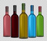 Set of realistic wine bottle on a transparent background. Shiny bottle vector illustration.