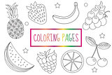Coloring book page. Fruit set. Sketch, doodle, outline style. Coloring for kids. Childrens education. Vector illustration.