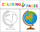 Coloring book page. Globe. Sketch outline and color version. Coloring for kids. Childrens education. Vector illustration.