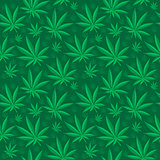 Marijuana seamless pattern. Cannabis is an endless texture. Medical hemp repeating background. Vector illustration.