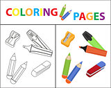Coloring book page. Back to school set, marker, pencils, sharpener, eraser. Sketch outline and color version. Coloring for kids. Childrens education. Vector illustration.