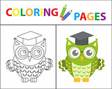 Coloring book page. Wise owl wearing glasses. Sketch outline and color version. Coloring for kids. Childrens education. Vector illustration.