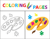 Coloring book page. Palette of paints, brush. Sketch outline and color version. Coloring for kids. Childrens education. Vector illustration.