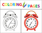 Coloring book page. Red alarm clock. Sketch outline and color version. Coloring for kids. Childrens education. Vector illustration.