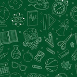 Back to school seamless pattern, hand drawing, doodle style. Stationery endless background. Education Line repeating texture. Vector illustration.