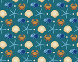 Marine seamless pattern, cartoon style. Underwater world, sea life infinite background. Starfish, shell, fishes repeating texture. Vector illustration.