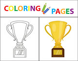 Coloring book page. Gold Cup winner, prize. Sketch outline and color version. Coloring for kids. Childrens education. Vector illustration.